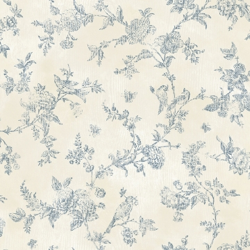 Picture of French Nightingale Blue Trail Wallpaper