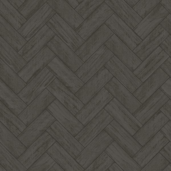 Picture of Kaliko Dark Grey Wood Herringbone Wallpaper