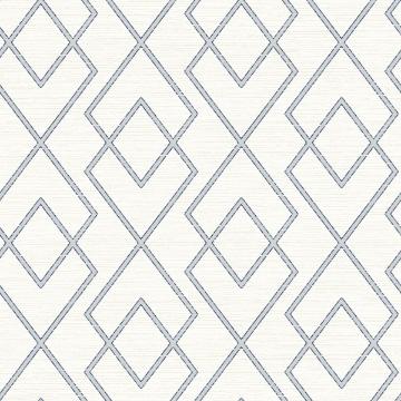 Picture of Blaze Blue Trellis Wallpaper