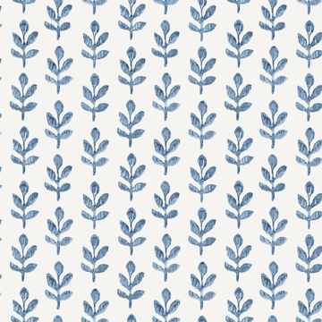Picture of Whiskers Blue Leaf Wallpaper