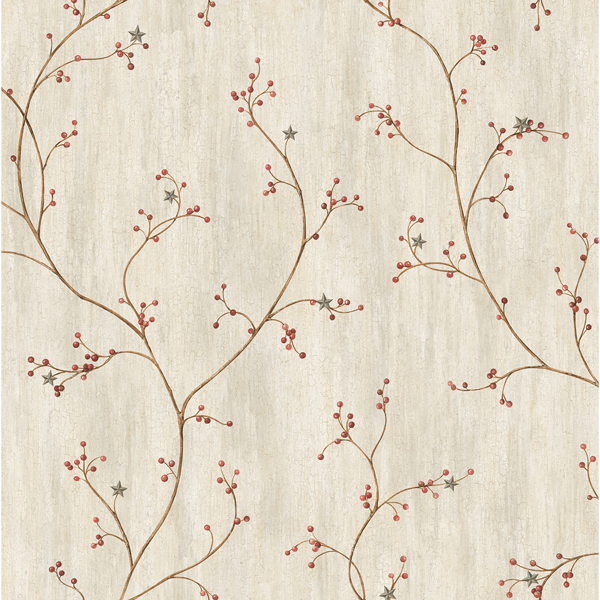 Picture of Justine Light Grey Berry Trail Wallpaper
