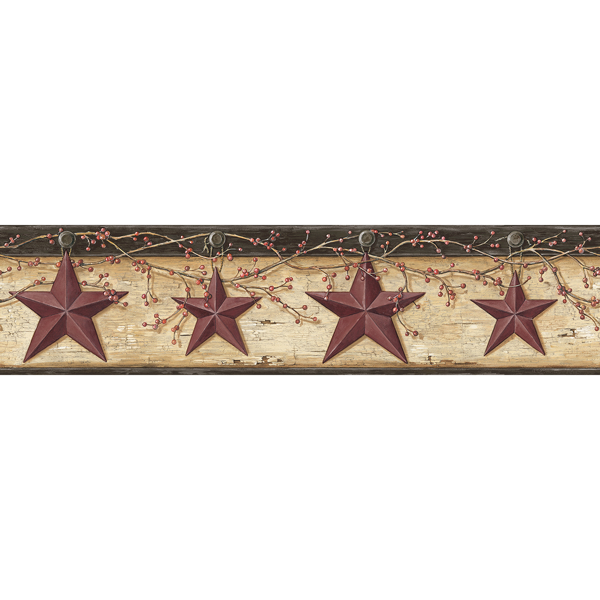 Picture of Ennis Maroon Rustic Barn Star Border