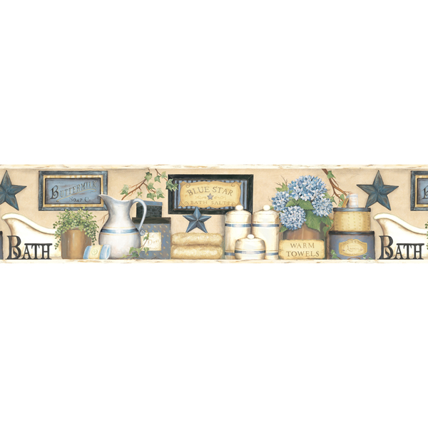 Picture of Martha Blue Country Bath Border