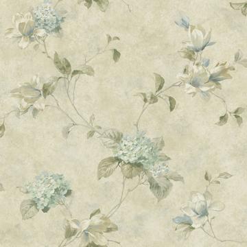Picture of Magnolia Teal Hydrangea Trail Wallpaper