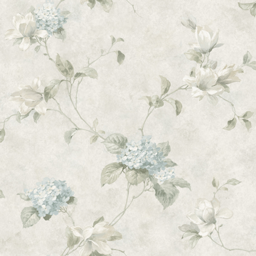 Picture of Magnolia Light Blue Hydrangea Trail Wallpaper