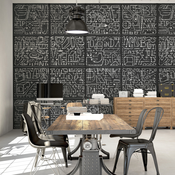 Picture of BKYLN Bank Multi-Panels Black Wall Mural