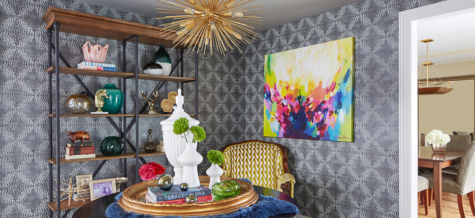 How To Style Hanging Art and Wallpaper Together