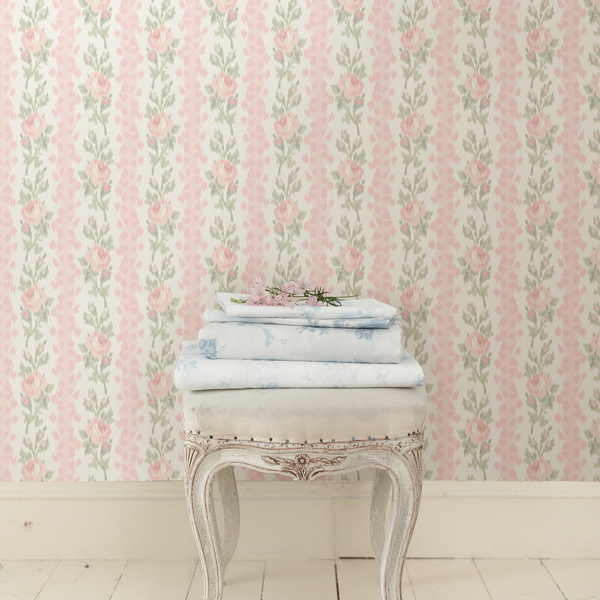 Picture of Blooming Heirloom Marie Pink Rose Stripe Wallpaper
