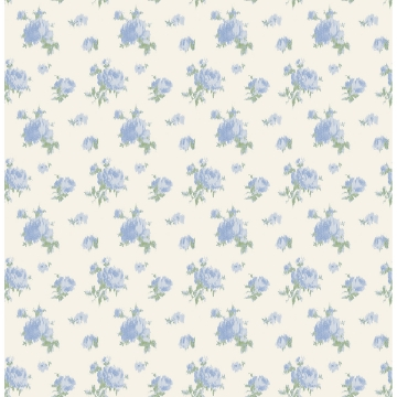 Picture of Ikat Rose Blue Small Print Wallpaper