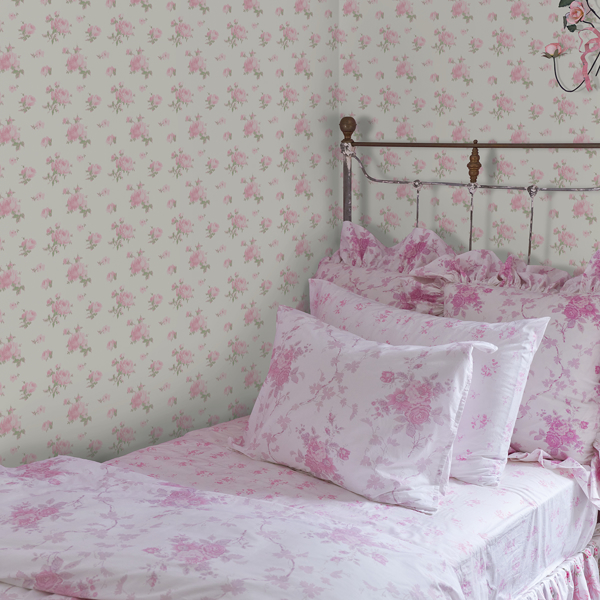 Picture of Ikat Rose Pink Small Print Wallpaper