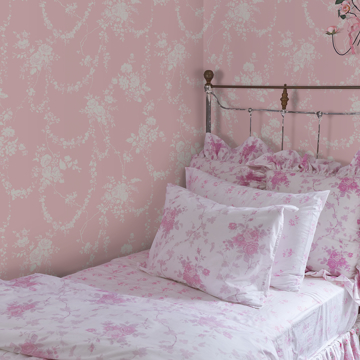 Picture of Chandelier Gates Pink Floral Drape Wallpaper