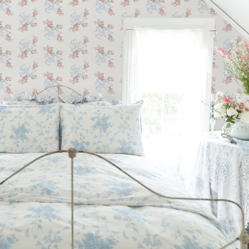 Picture of Rosa Beaux Light Blue Large Bow Spot Wallpaper