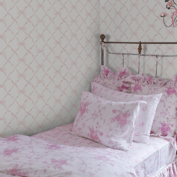 Picture of Baby Bow Light Pink Ribbon Trellis Wallpaper