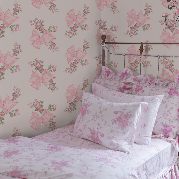 Picture of Rosa Beaux Pink Large Bow Spot Wallpaper