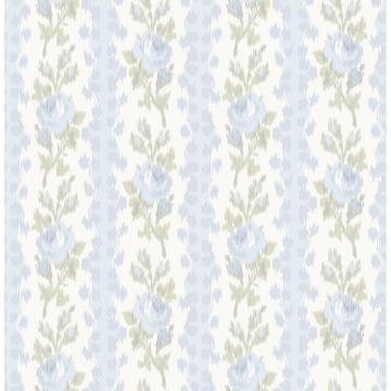 Picture of Blooming Heirloom Light Blue Rose Stripe Wallpaper