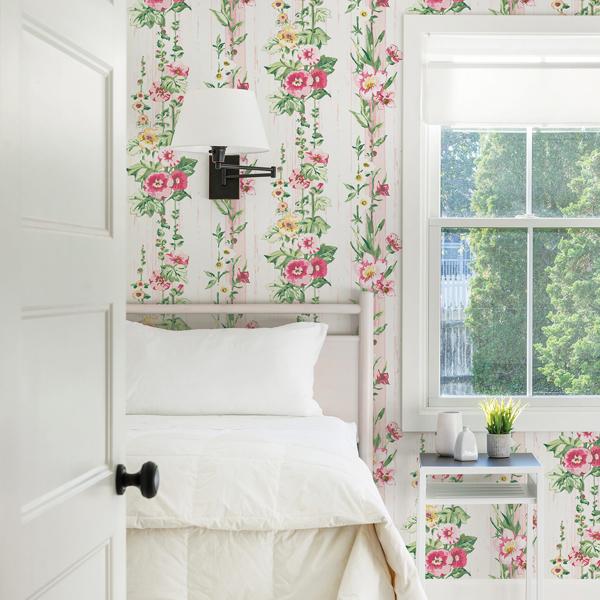 Picture of Delisa Pink Floral Stripe Wallpaper
