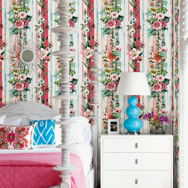 Picture of Delisa Red Floral Stripe Wallpaper