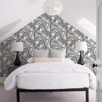 Picture of Kagan Black Large Leaf Wallpaper