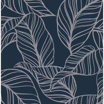 Picture of Kagan Blue Large Leaf Wallpaper