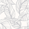 Picture of Kagan Grey Large Leaf Wallpaper