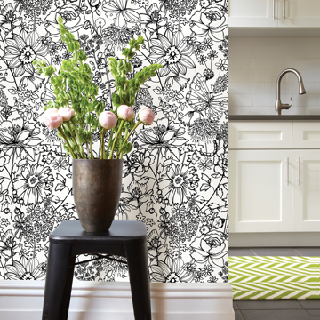 Picture of Daley Black Line Floral Wallpaper