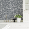 Picture of Daley Grey Line Floral Wallpaper