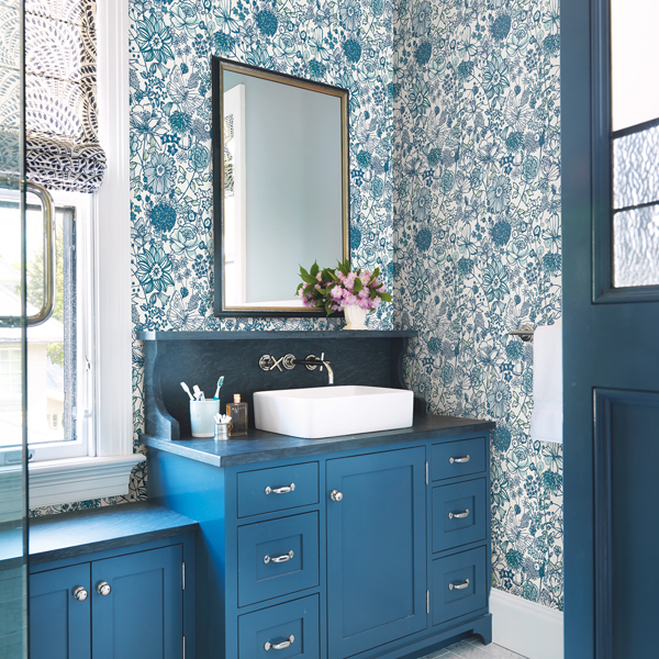 Picture of Daley Blue Line Floral Wallpaper