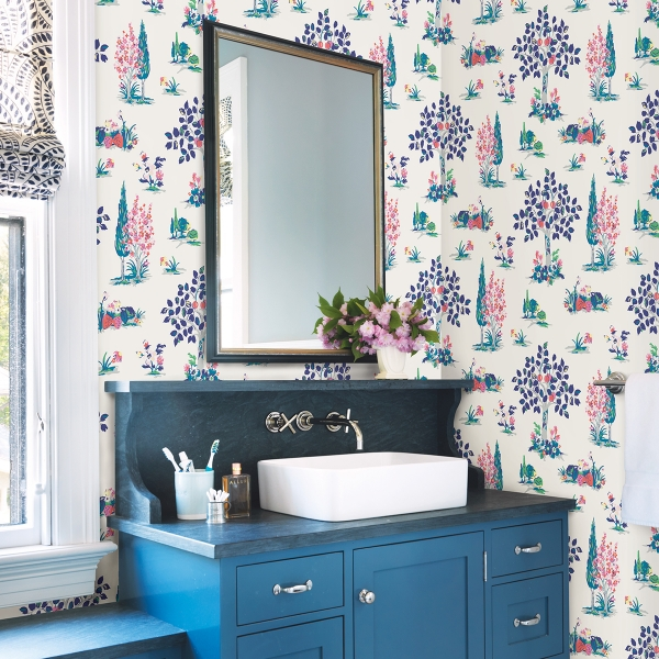 Picture of Blue Charming Grove Peel and Stick Wallpaper