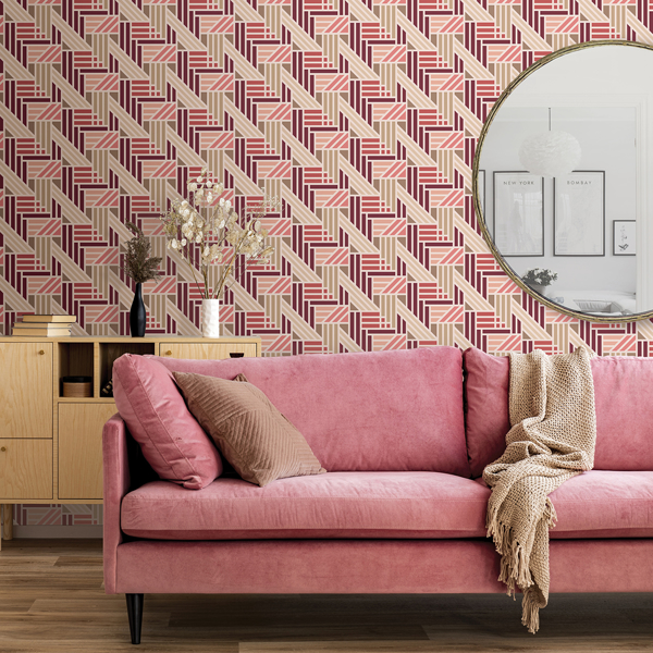 Picture of Pink Geo Medallion Peel and Stick Wallpaper