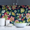Picture of Navy Sunny Garden Peel and Stick Wallpaper