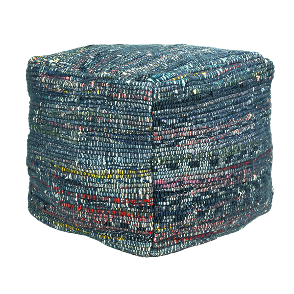 Picture of Woven Blue Pouf Decorative Object