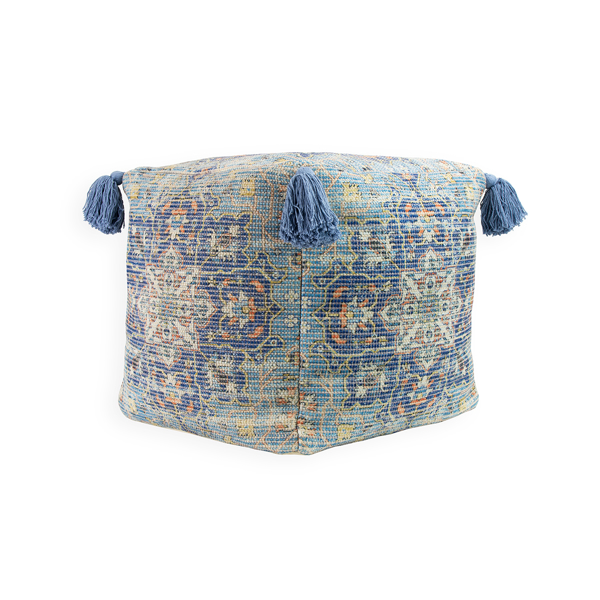 Picture of Tassled Bohemian Blue Pouf Decorative Object