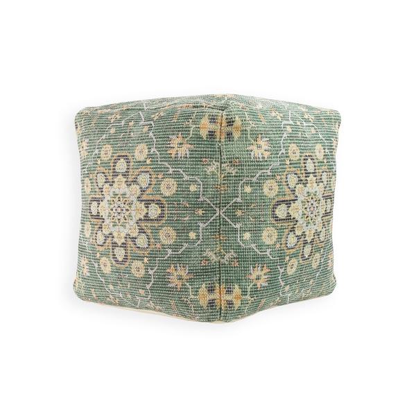 Picture of Floral Medallion Aqua Pouf Decorative Object