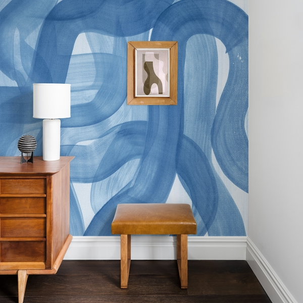 Picture of Waves Blue Wall Mural by Karen J. Revis