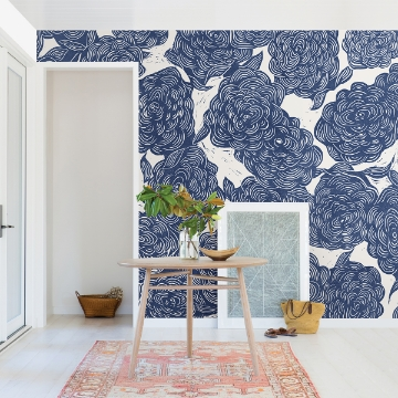 Picture of Roses Indigo Wall Mural by Karen J. Revis