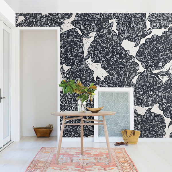 Picture of Roses Black Wall Mural by Karen J. Revis