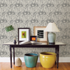 Picture of Black Foliole Peel and Stick Wallpaper