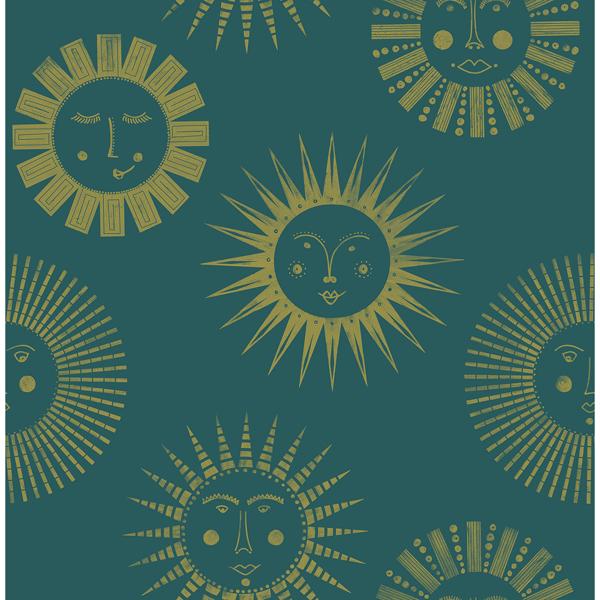 Picture of Teal Konark Peel and Stick Wallpaper