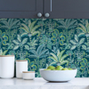 Picture of Teal Kapok Peel and Stick Wallpaper