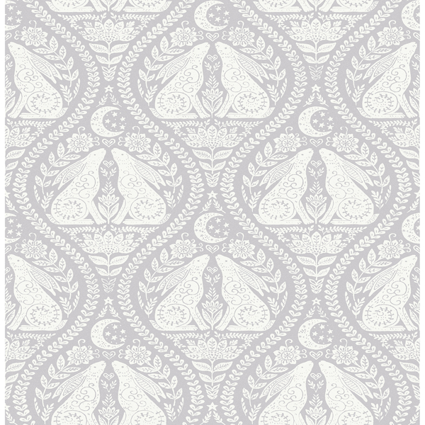 Picture of Grey Moon Rabbit Peel and Stick Wallpaper
