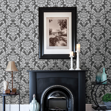 Picture of Galois Silver Damask Wallpaper