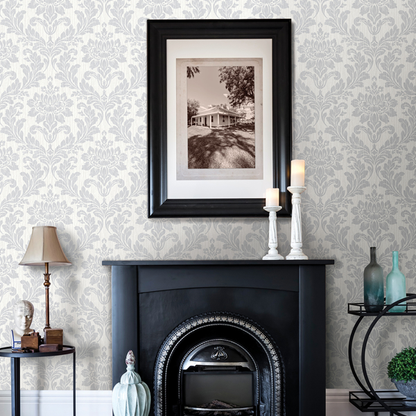 Picture of Galois Light Grey Damask Wallpaper