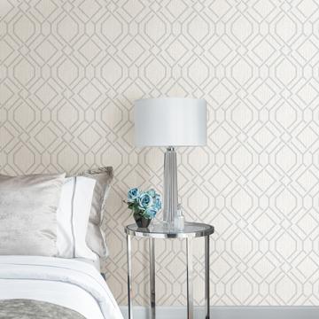 Picture of Frege Silver Trellis Wallpaper