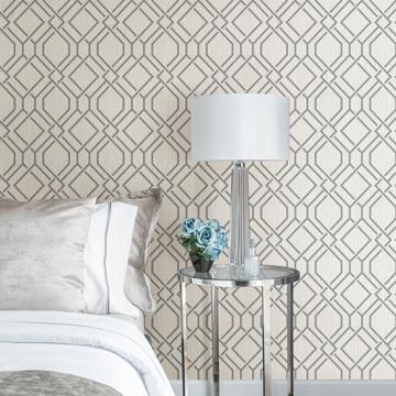 Picture of Frege Grey Trellis Wallpaper