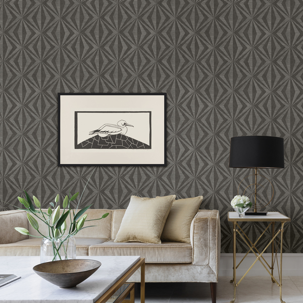 Picture of Monge Charcoal Geometric Wallpaper