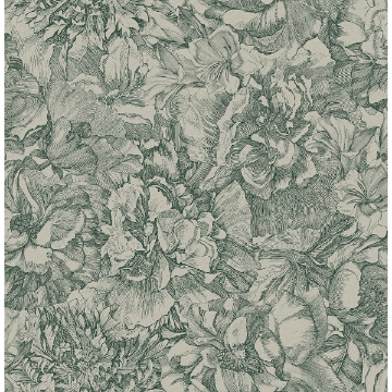 Picture of Auguste Green Floral Wallpaper