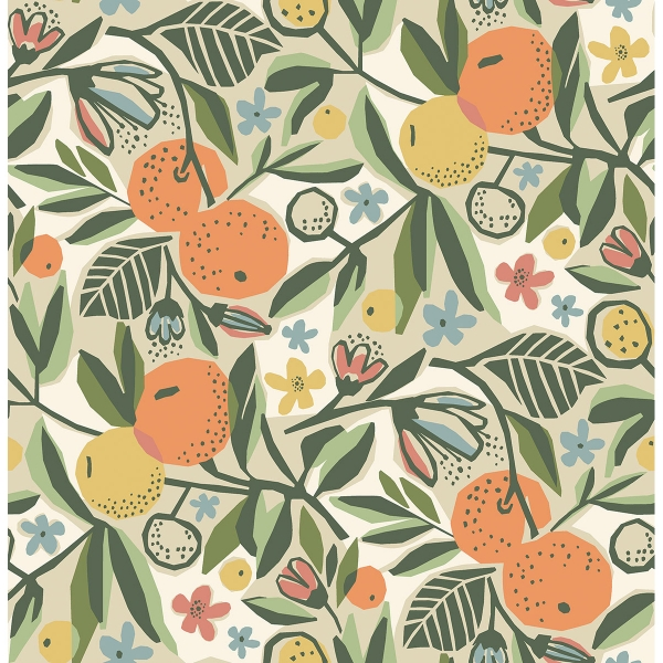 Picture of Ochre Clementine Garden Peel and Stick Wallpaper