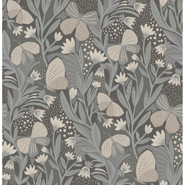 Picture of Blue Grey Papillon Flutter Peel and Stick Wallpaper