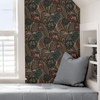 Picture of Coral Teal Lotusland Peel and Stick Wallpaper