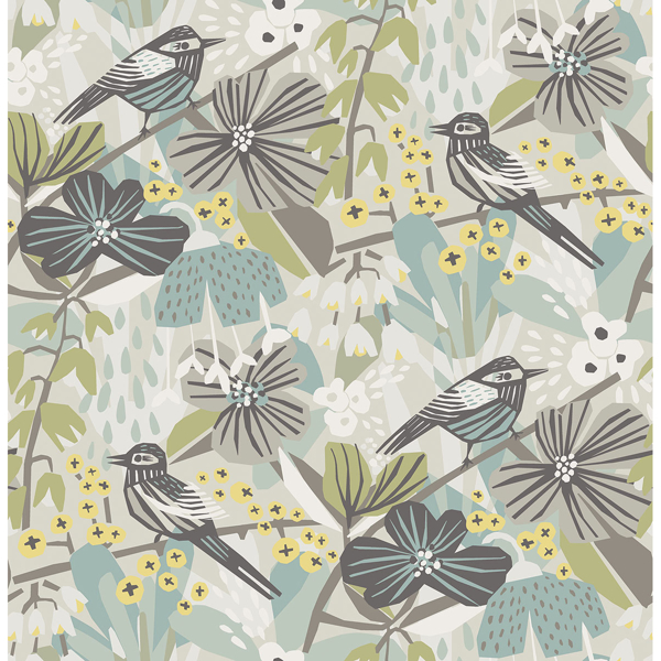 Picture of Grey Aqua Jaybird Peel and Stick Wallpaper